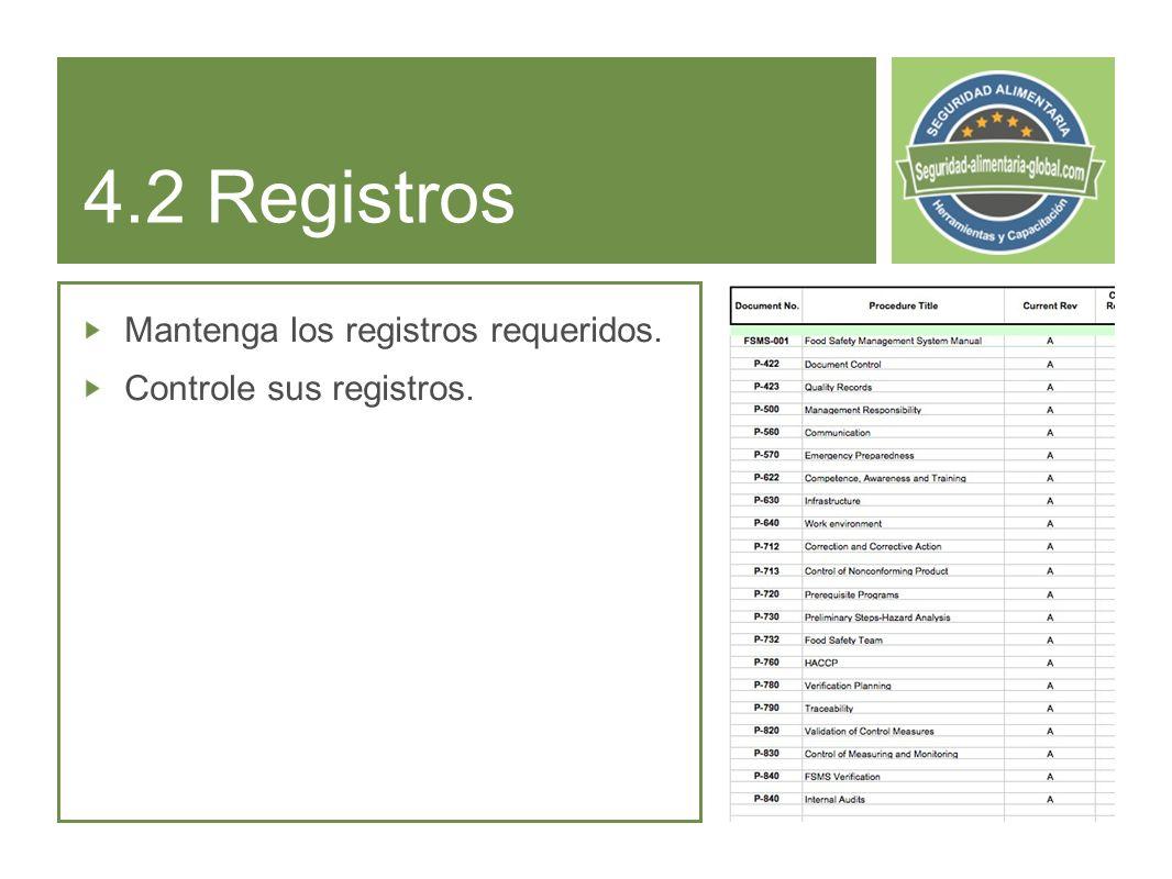 4.2 Registros Mantenga los registros requeridos.
