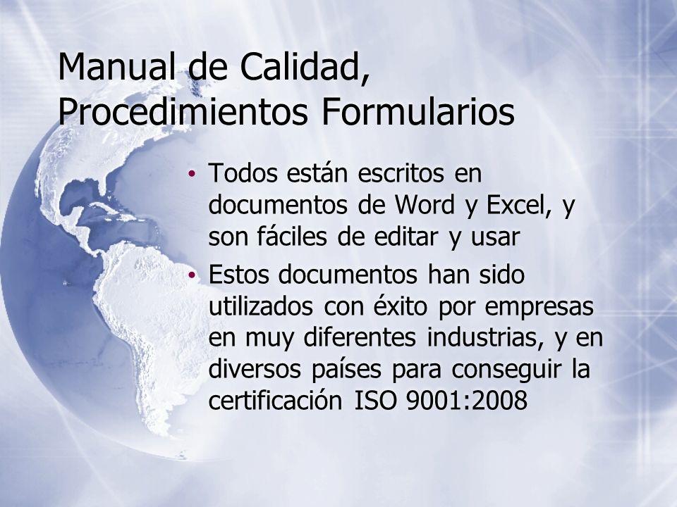 Manual de Calidad, Procedimientos Formularios