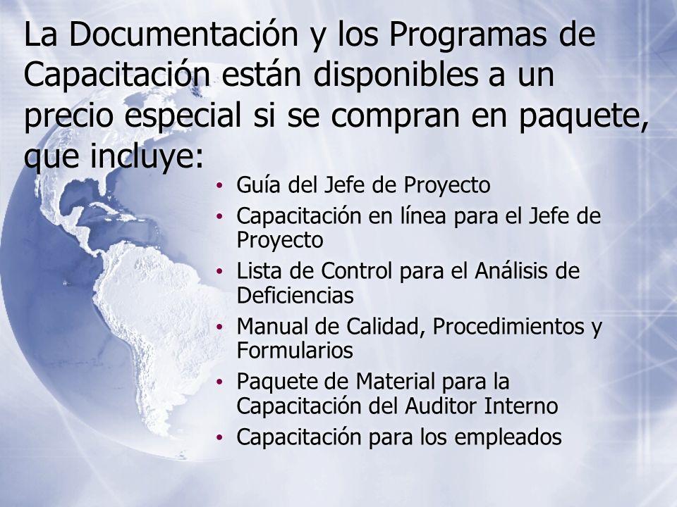 La Documentación y los Programas de Capacitación están disponibles a un precio especial si se compran en paquete, que incluye: