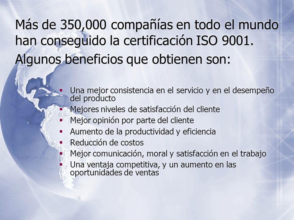 Más de 350,000 compañías en todo el mundo han conseguido la certificación ISO 9001. Algunos beneficios que obtienen son: