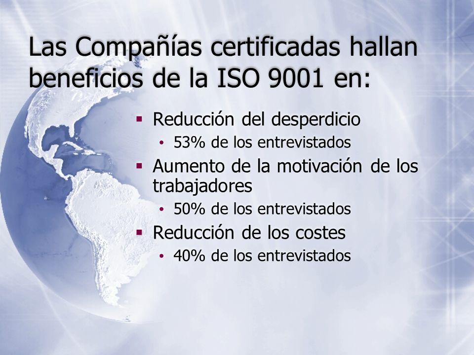 Las Compañías certificadas hallan beneficios de la ISO 9001 en: