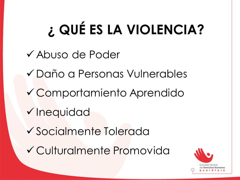 ¿ QUÉ ES LA VIOLENCIA Abuso de Poder Daño a Personas Vulnerables