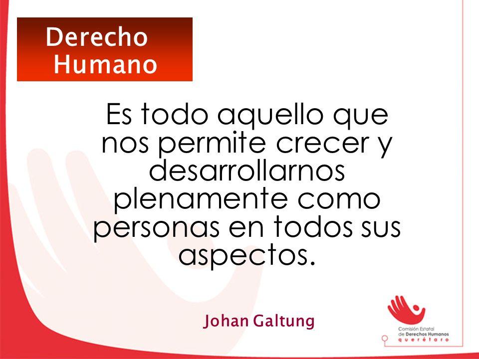 Derecho Humano. Es todo aquello que nos permite crecer y desarrollarnos plenamente como personas en todos sus aspectos.