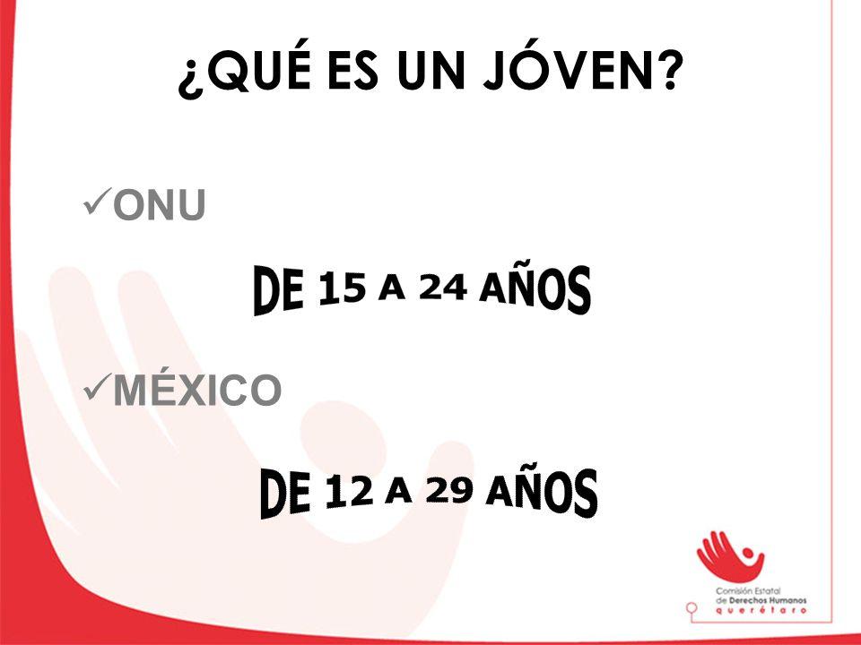 ¿QUÉ ES UN JÓVEN ONU MÉXICO DE 15 A 24 AÑOS DE 12 A 29 AÑOS