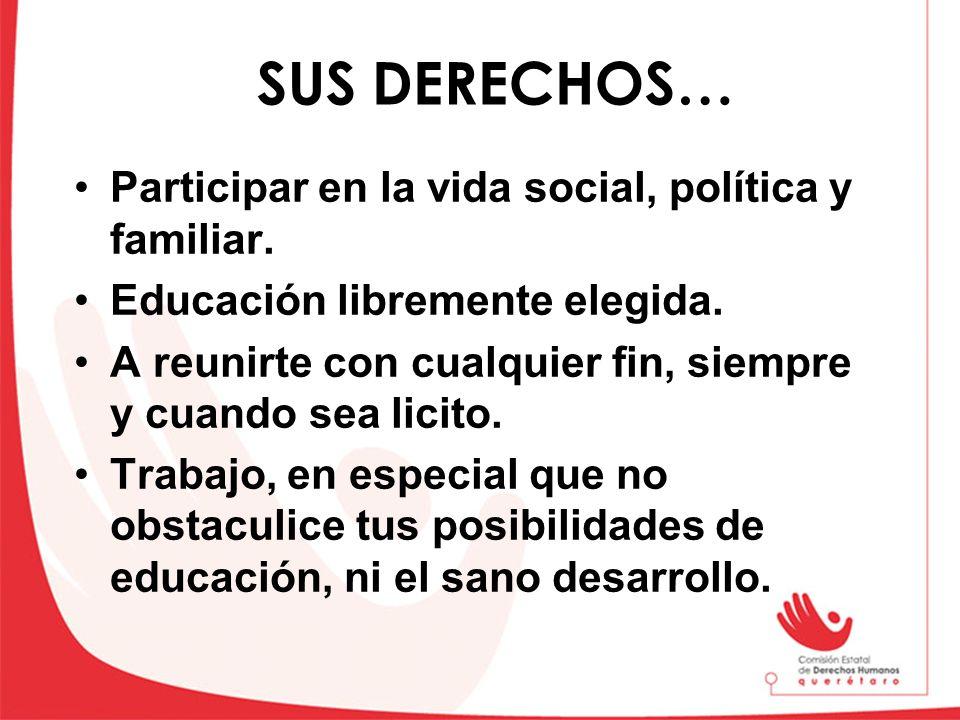 SUS DERECHOS… Participar en la vida social, política y familiar.
