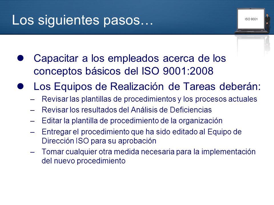 Los siguientes pasos… Capacitar a los empleados acerca de los conceptos básicos del ISO 9001:2008. Los Equipos de Realización de Tareas deberán:
