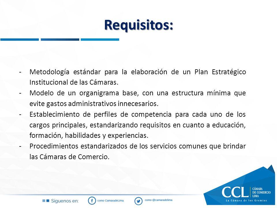 Requisitos: Metodología estándar para la elaboración de un Plan Estratégico Institucional de las Cámaras.