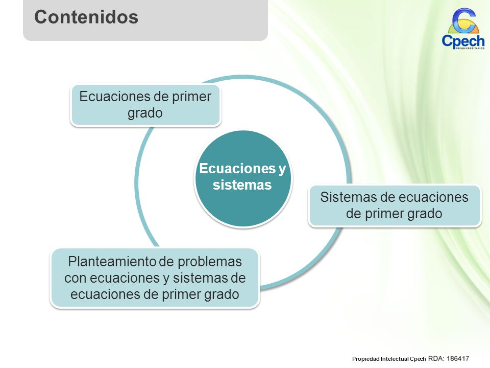 Contenidos Ecuaciones de primer grado Ecuaciones y sistemas