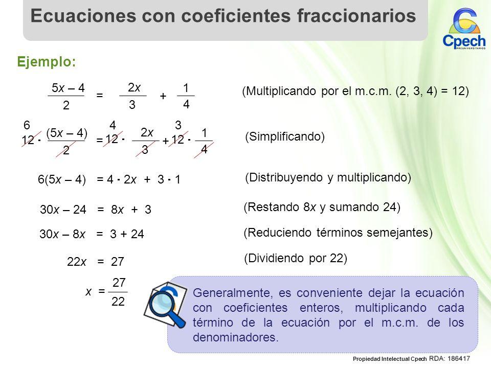 Ecuaciones con coeficientes fraccionarios