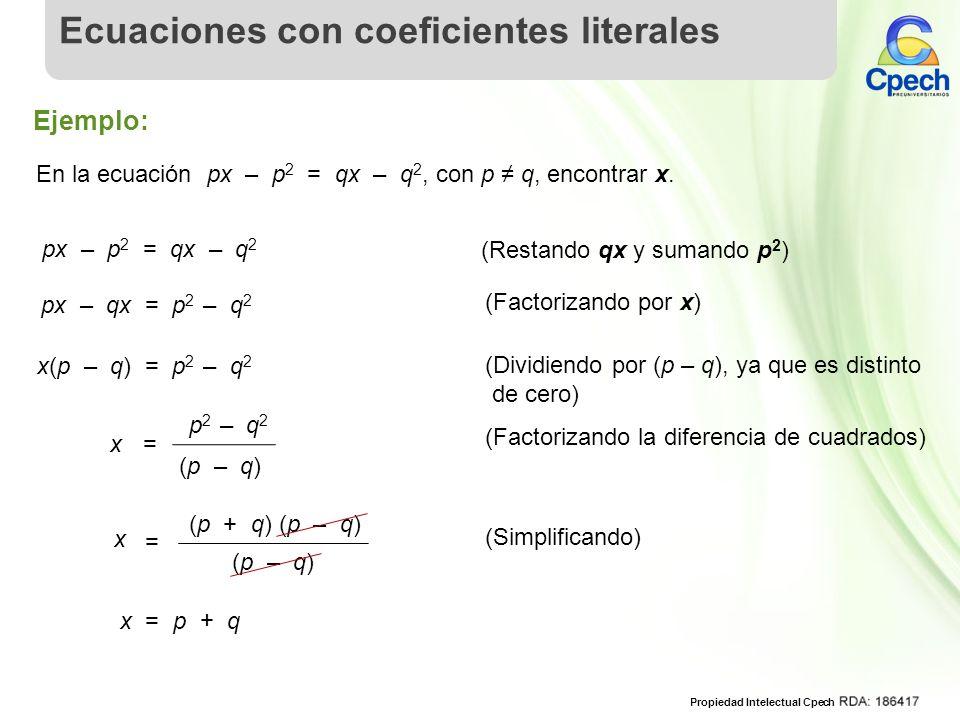 Ecuaciones con coeficientes literales