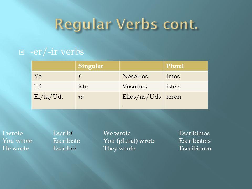 Regular Verbs cont. -er/-ir verbs Singular Plural Yo í Nosotros imos