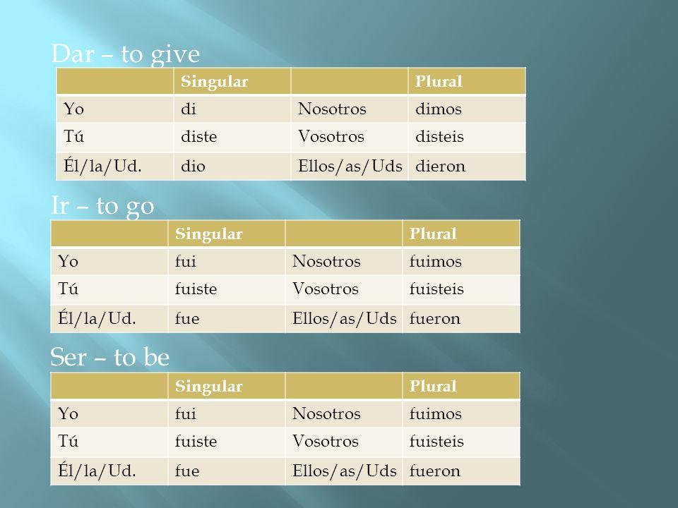Dar – to give Ir – to go Ser – to be Singular Plural Yo di Nosotros