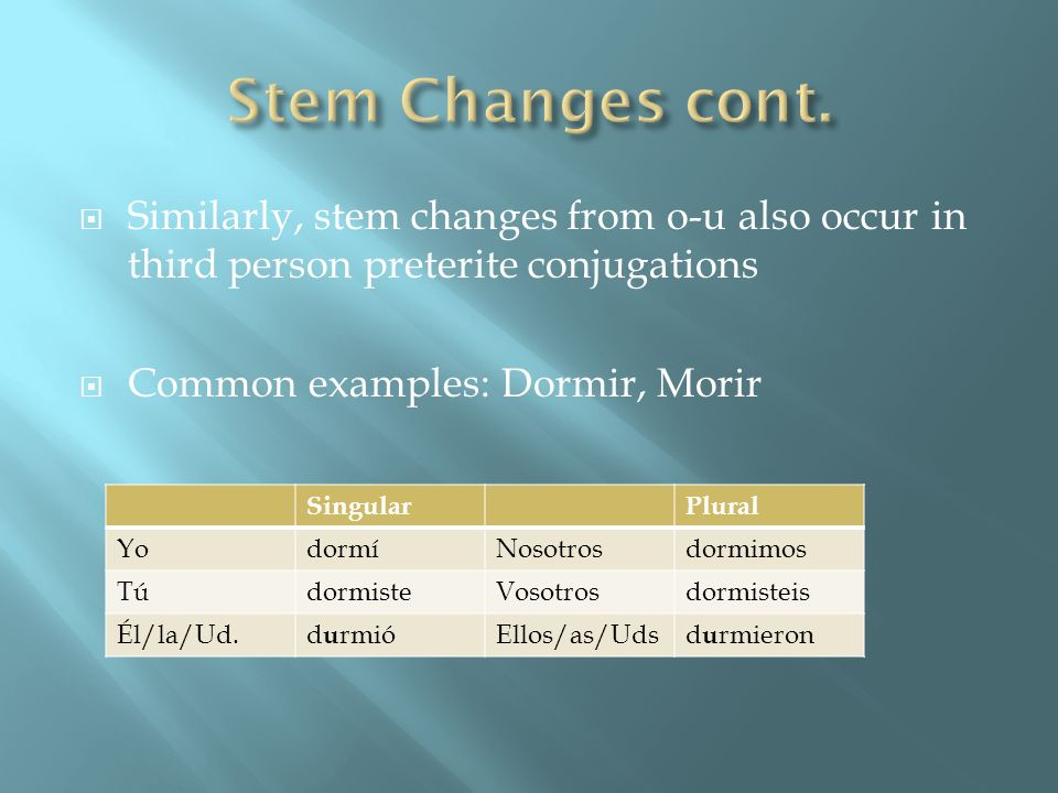 Stem Changes cont.Similarly, stem changes from o-u also occur in third person preterite conjugations.