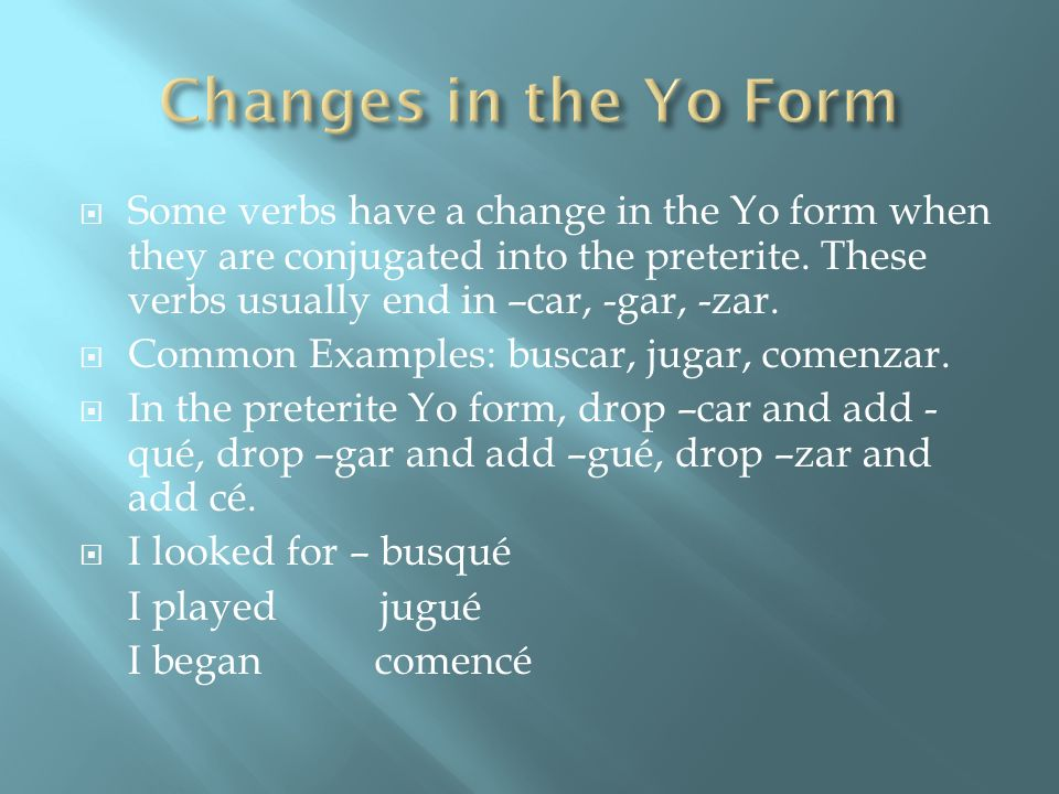 Changes in the Yo Form