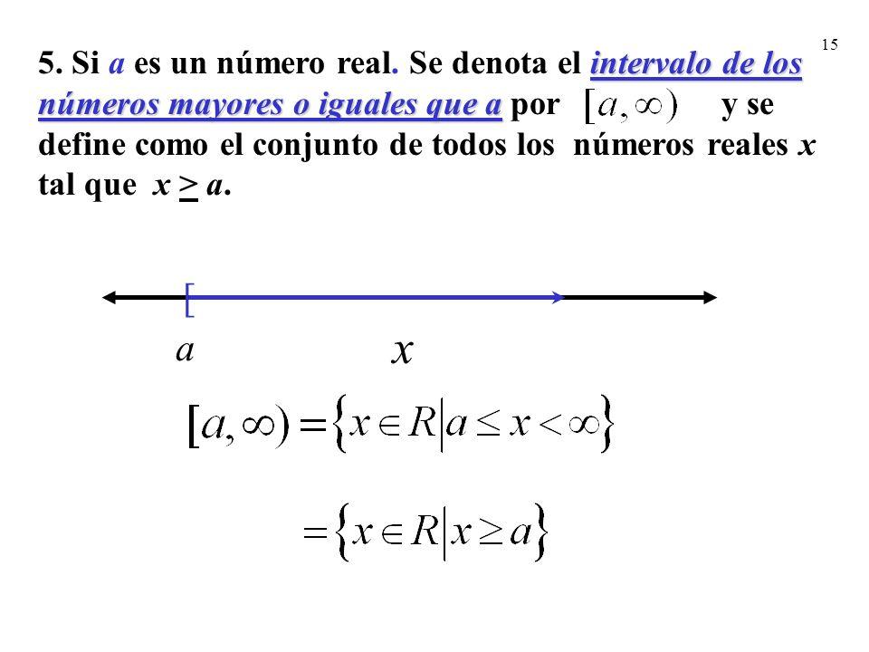5. Si a es un número real. Se denota el intervalo de los números mayores o iguales que a por y se define como el conjunto de todos los números reales x tal que x > a.