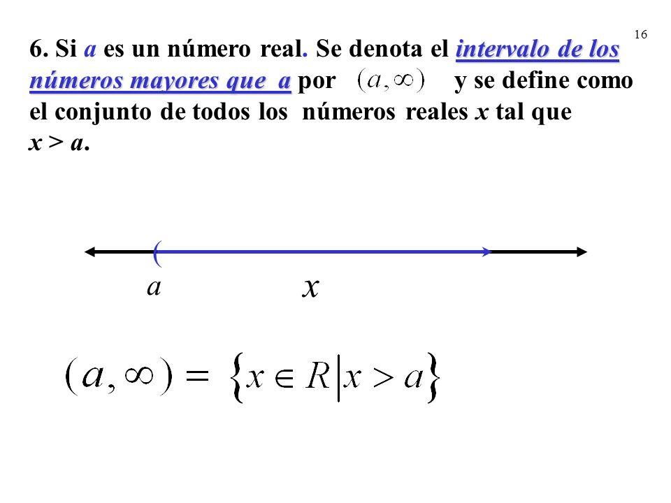 6. Si a es un número real. Se denota el intervalo de los números mayores que a por y se define como el conjunto de todos los números reales x tal que x > a.