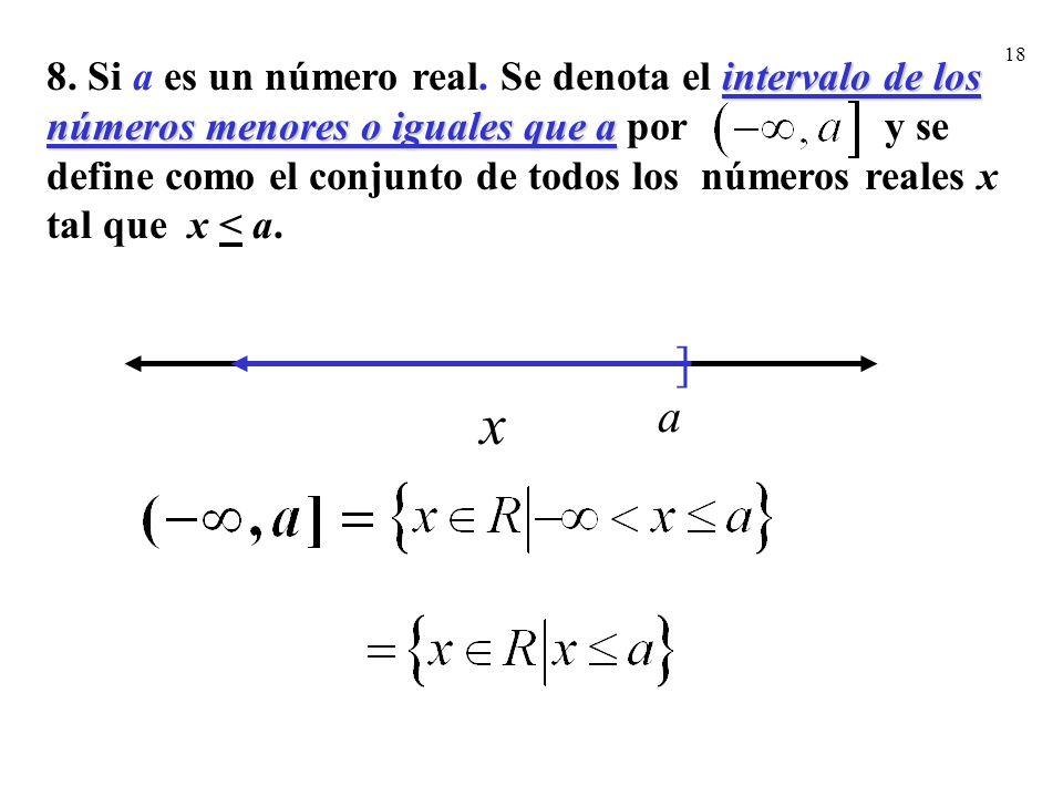 8. Si a es un número real. Se denota el intervalo de los números menores o iguales que a por y se define como el conjunto de todos los números reales x tal que x < a.