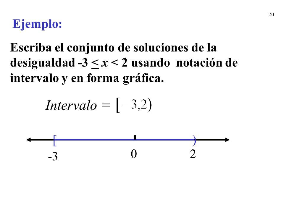 Ejemplo: Escriba el conjunto de soluciones de la desigualdad -3 < x < 2 usando notación de intervalo y en forma gráfica.