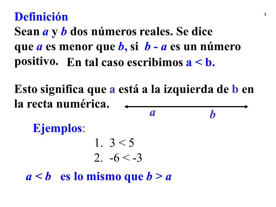 Definición Sean a y b dos números reales. Se dice. que a es menor que b, si b - a es un número. positivo.