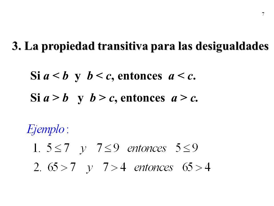 3. La propiedad transitiva para las desigualdades