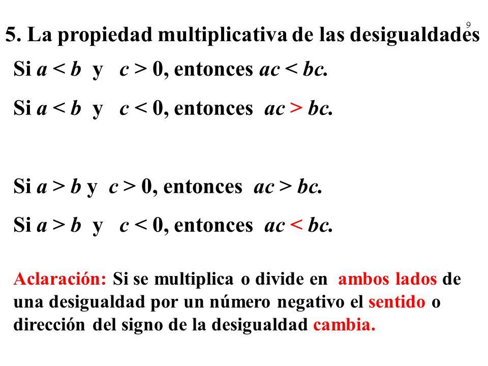 5. La propiedad multiplicativa de las desigualdades