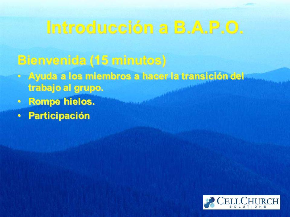 Introducción a B.A.P.O. Bienvenida (15 minutos)