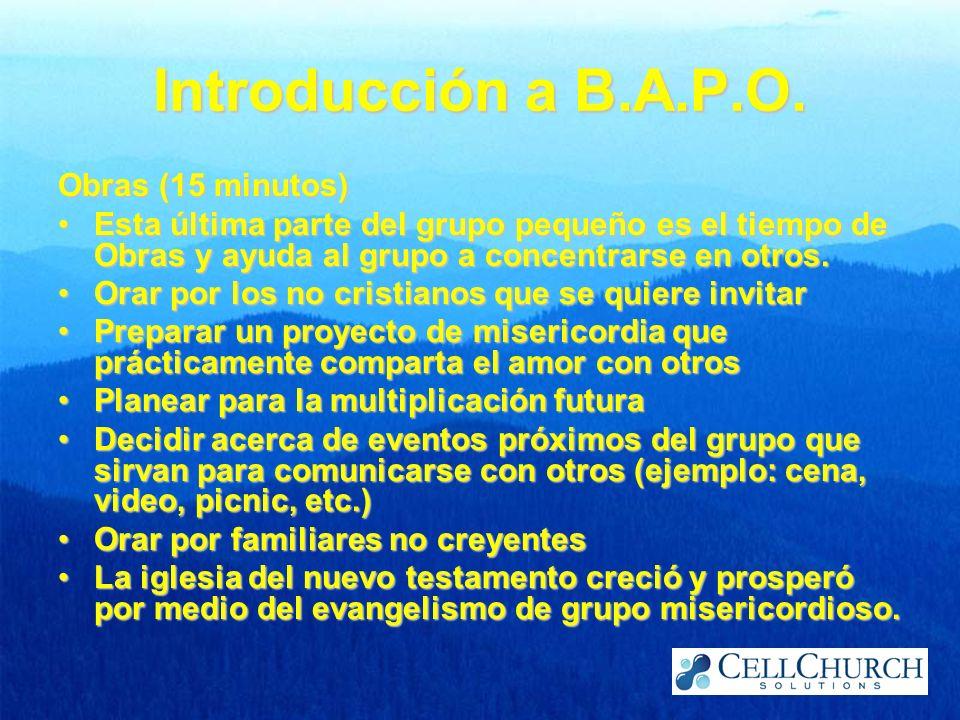 Introducción a B.A.P.O. Obras (15 minutos)
