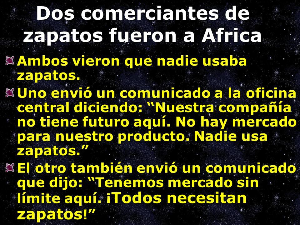 Dos comerciantes de zapatos fueron a Africa