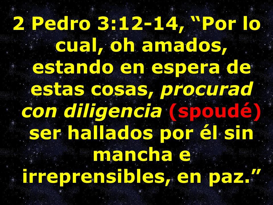 2 Pedro 3:12-14, Por lo cual, oh amados, estando en espera de estas cosas, procurad con diligencia (spoudé) ser hallados por él sin mancha e irreprensibles, en paz.