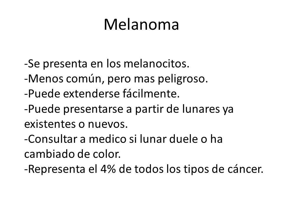 Melanoma -Se presenta en los melanocitos.