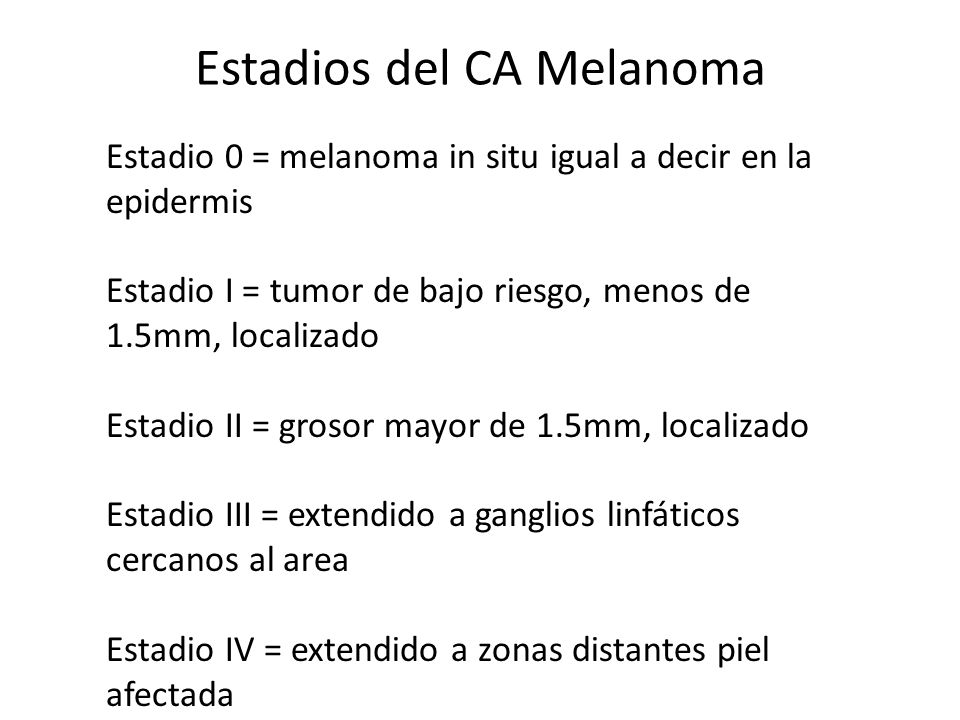Estadios del CA Melanoma