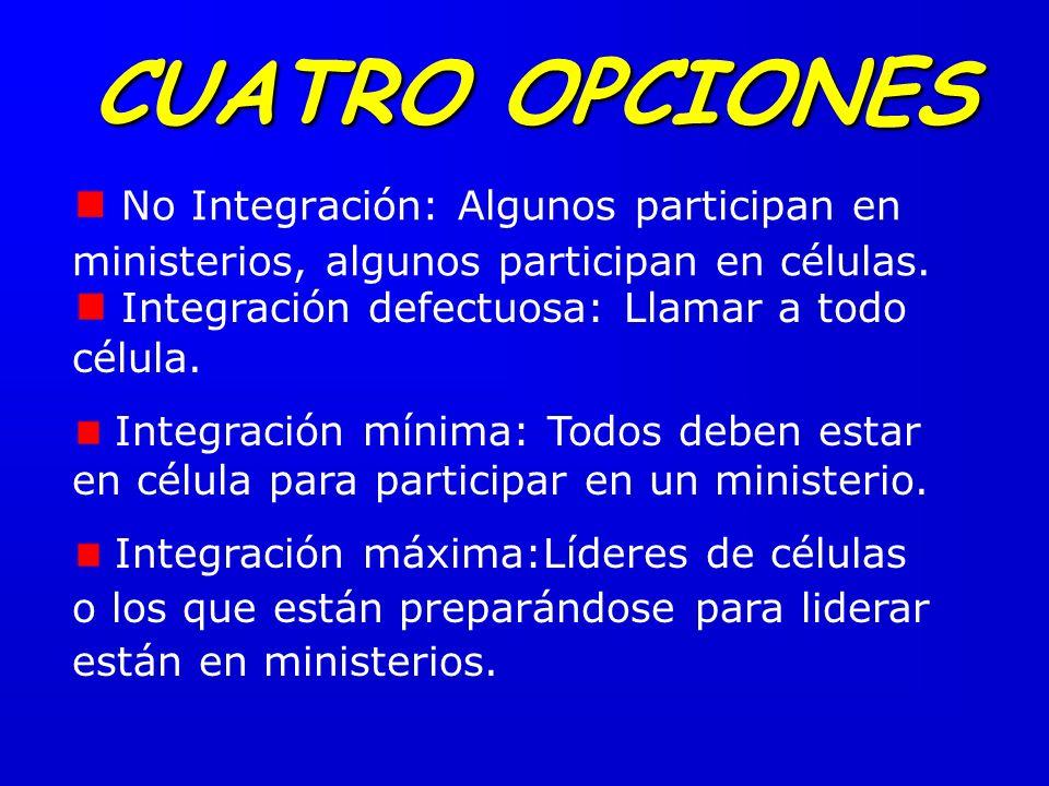 CUATRO OPCIONES No Integración: Algunos participan en ministerios, algunos participan en células. Integración defectuosa: Llamar a todo célula.