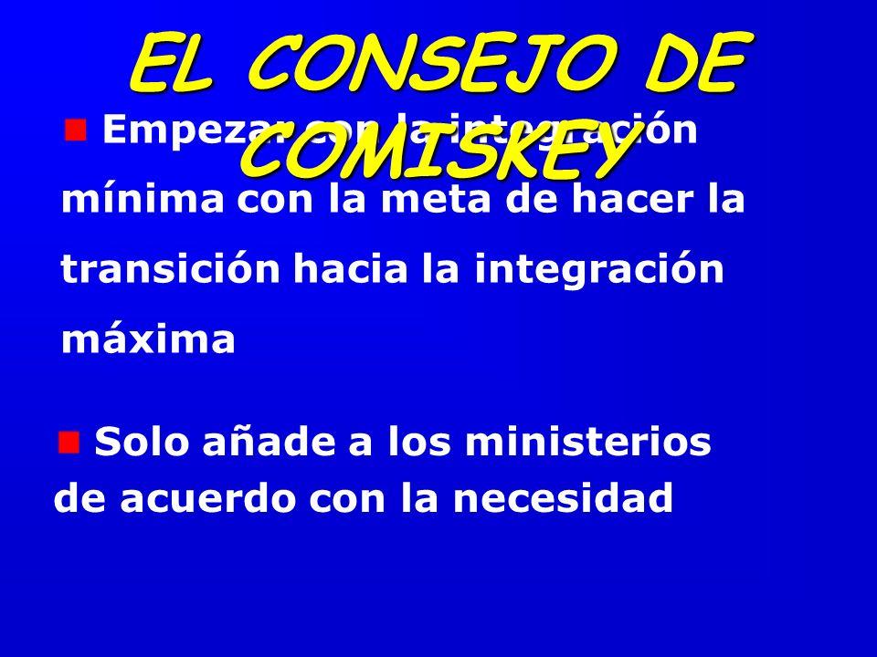 EL CONSEJO DE COMISKEY Empezar con la integración mínima con la meta de hacer la transición hacia la integración máxima.