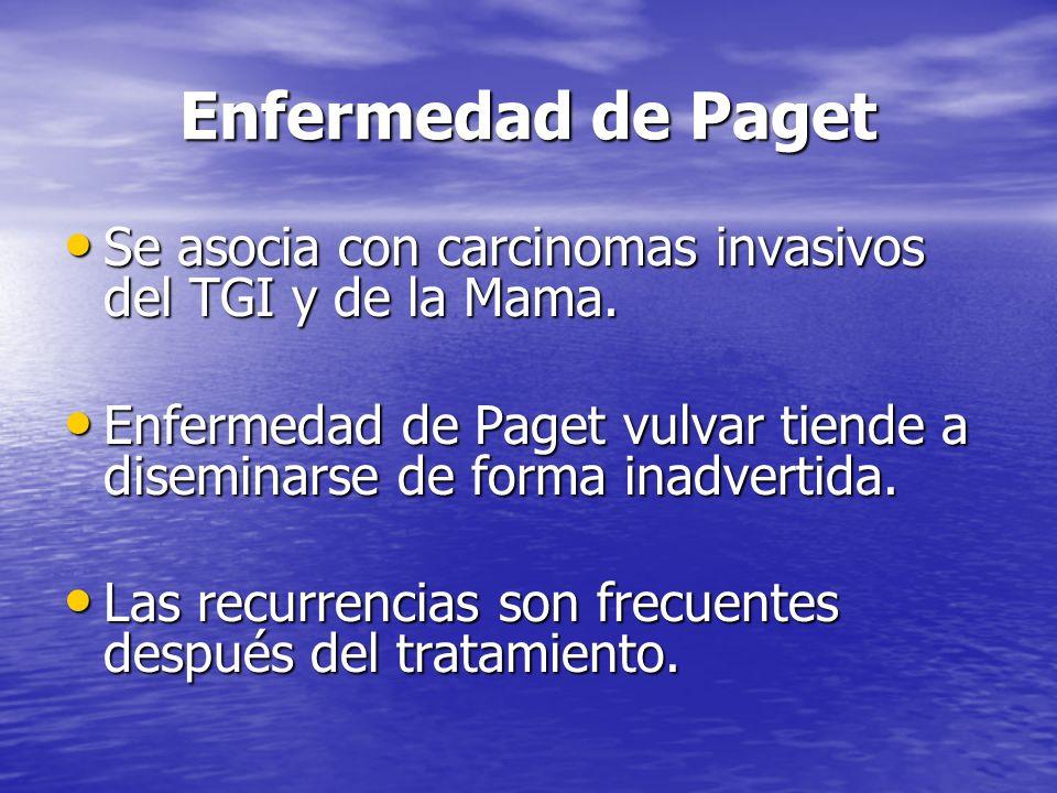 Enfermedad de Paget Se asocia con carcinomas invasivos del TGI y de la Mama. Enfermedad de Paget vulvar tiende a diseminarse de forma inadvertida.