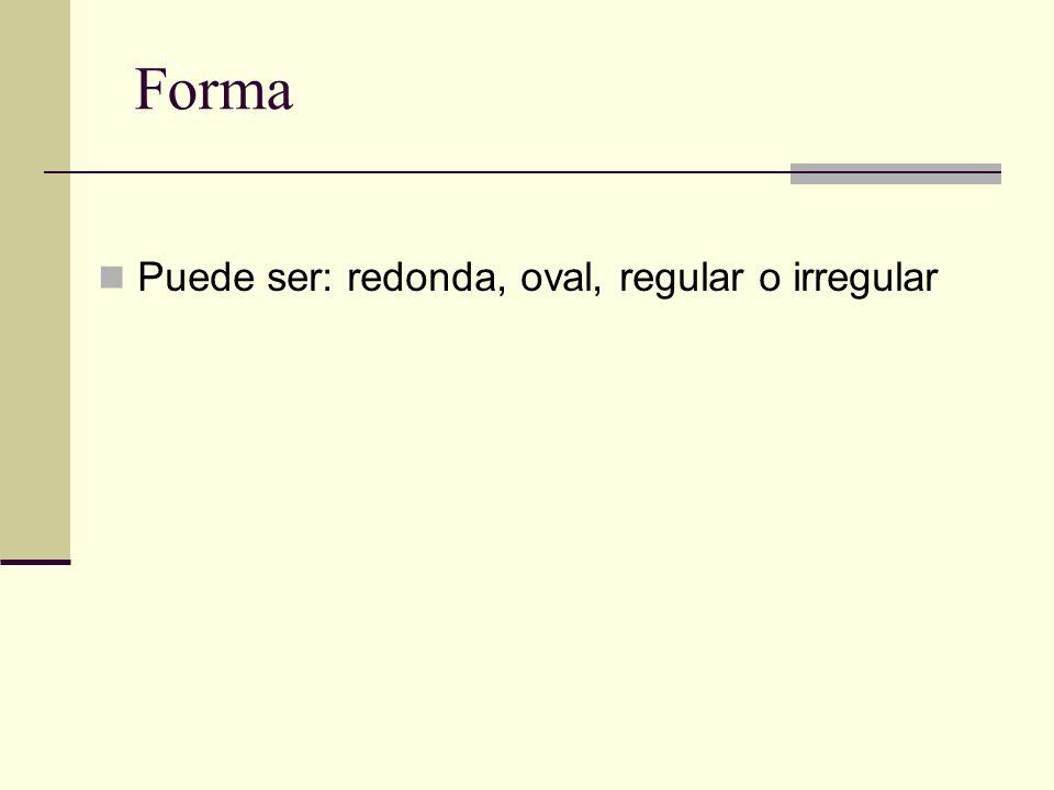 Forma Puede ser: redonda, oval, regular o irregular