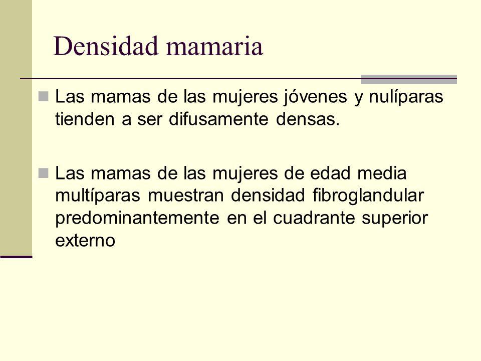 Densidad mamaria Las mamas de las mujeres jóvenes y nulíparas tienden a ser difusamente densas.