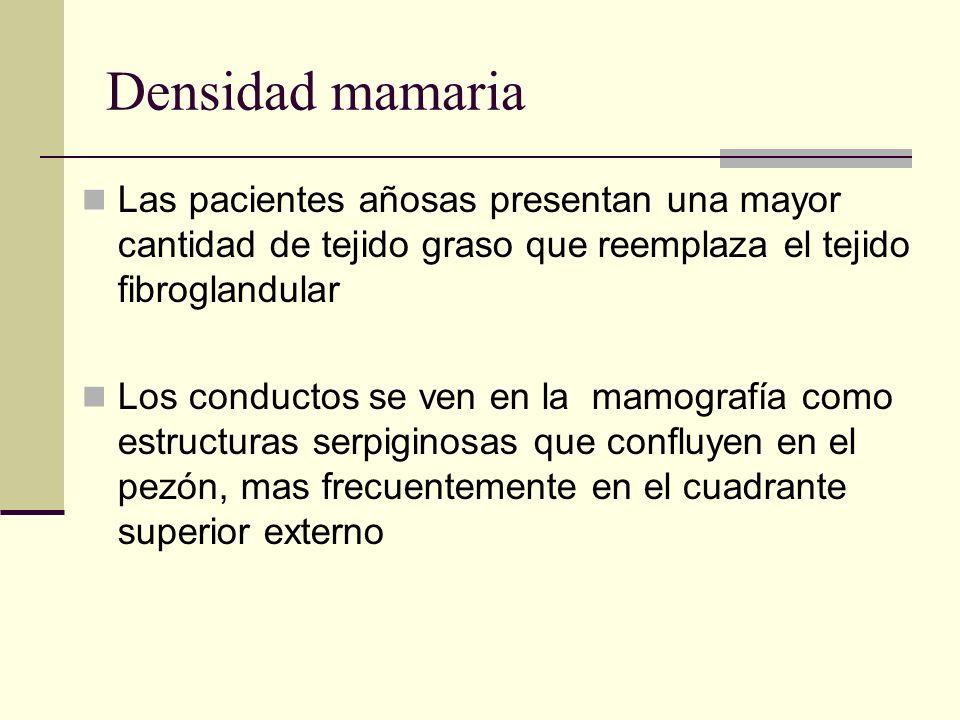 Densidad mamaria Las pacientes añosas presentan una mayor cantidad de tejido graso que reemplaza el tejido fibroglandular.