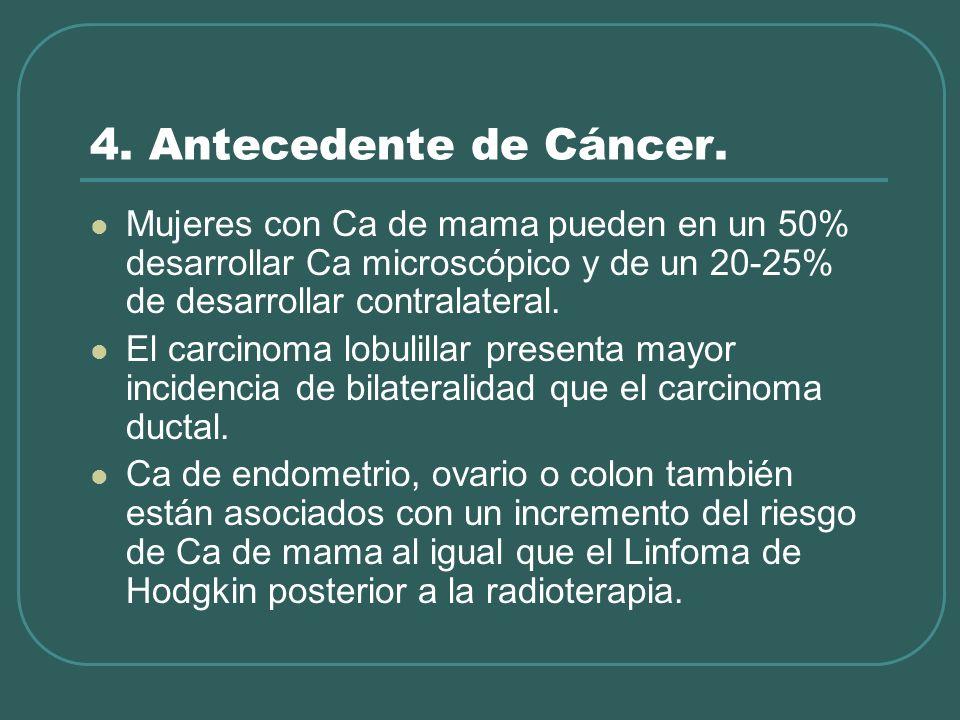 4. Antecedente de Cáncer. Mujeres con Ca de mama pueden en un 50% desarrollar Ca microscópico y de un 20-25% de desarrollar contralateral.