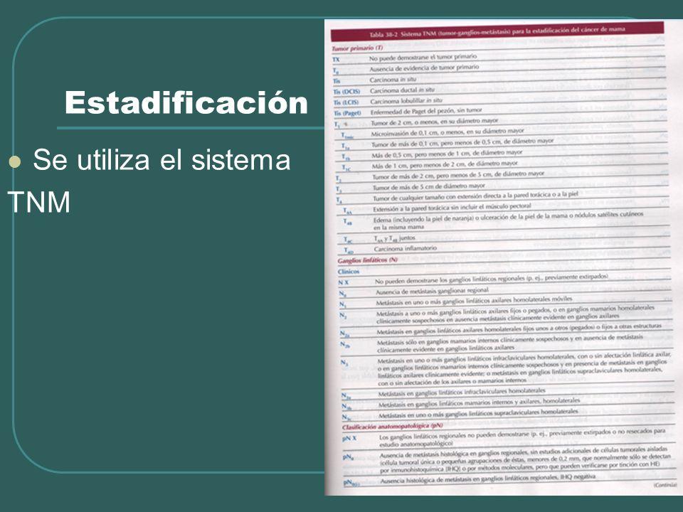 Estadificación Se utiliza el sistema TNM