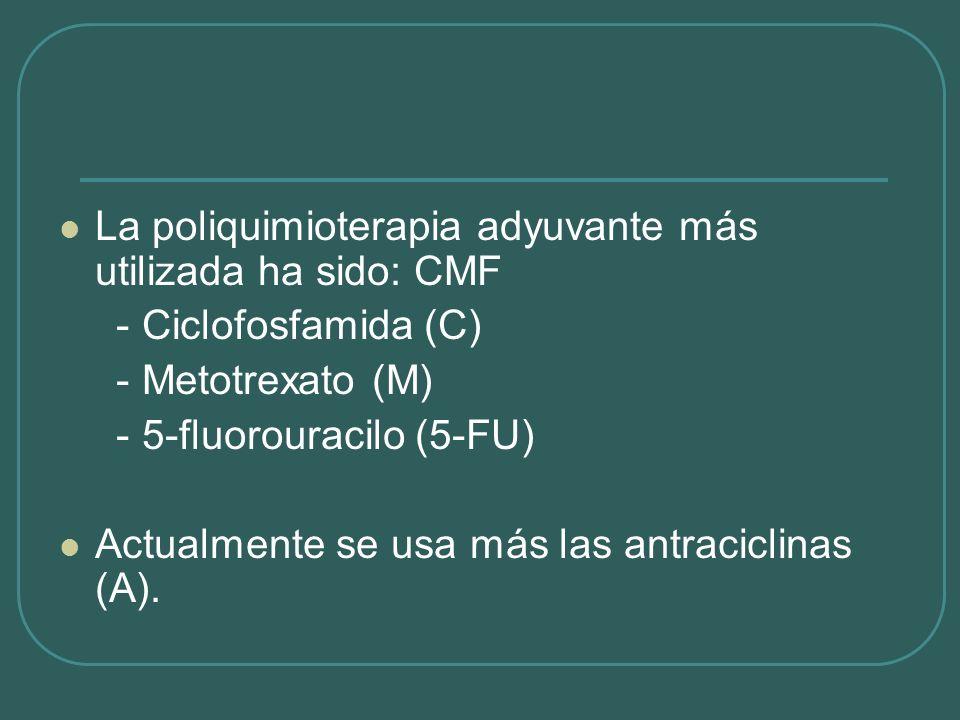 La poliquimioterapia adyuvante más utilizada ha sido: CMF