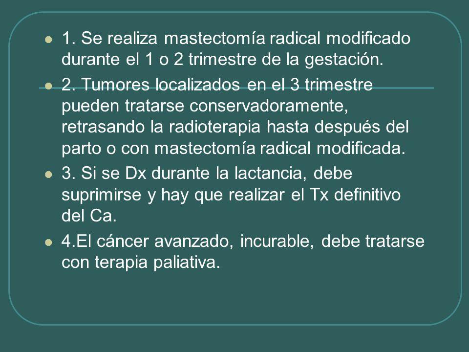 1. Se realiza mastectomía radical modificado durante el 1 o 2 trimestre de la gestación.