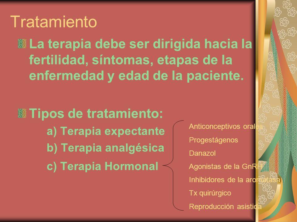 Tratamiento La terapia debe ser dirigida hacia la fertilidad, síntomas, etapas de la enfermedad y edad de la paciente.