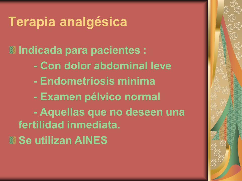 Terapia analgésica Indicada para pacientes :