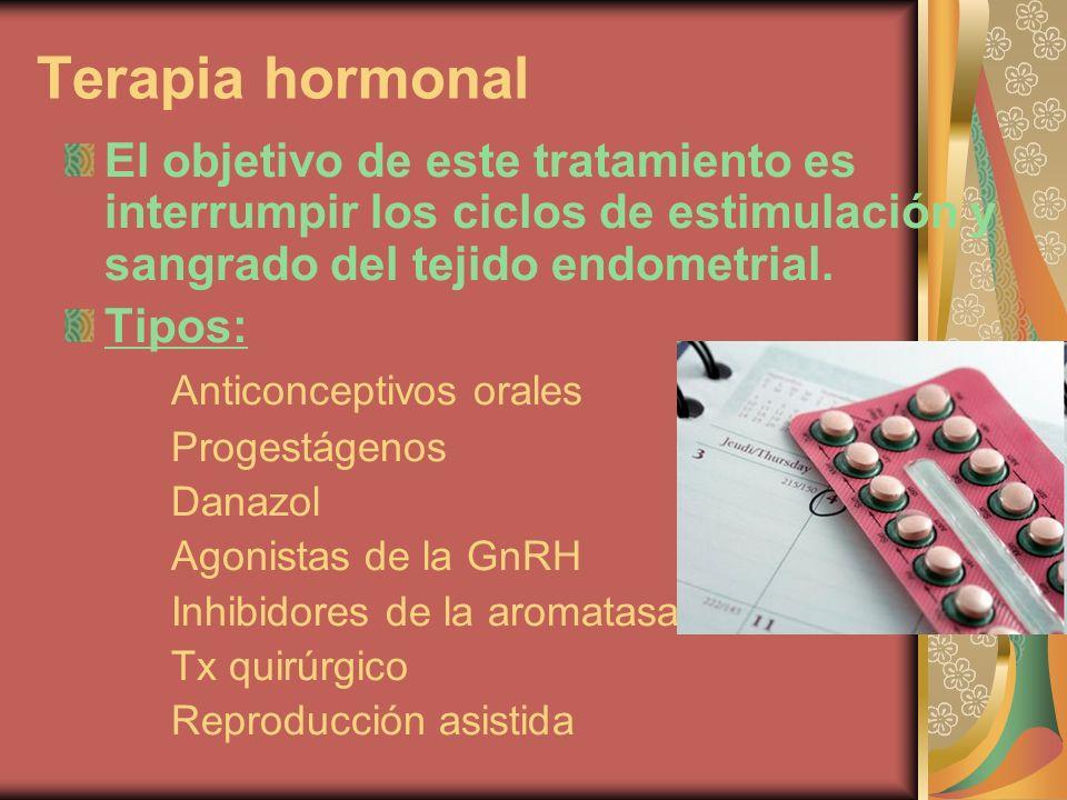 Terapia hormonal El objetivo de este tratamiento es interrumpir los ciclos de estimulación y sangrado del tejido endometrial.