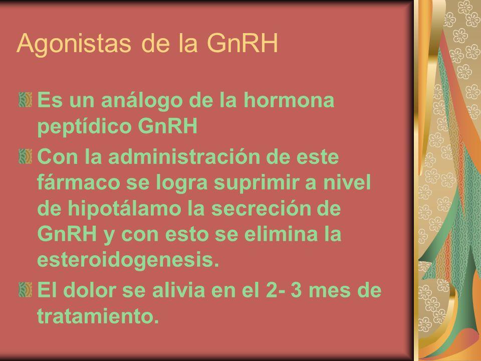 Agonistas de la GnRH Es un análogo de la hormona peptídico GnRH