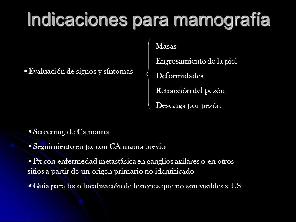 Indicaciones para mamografía