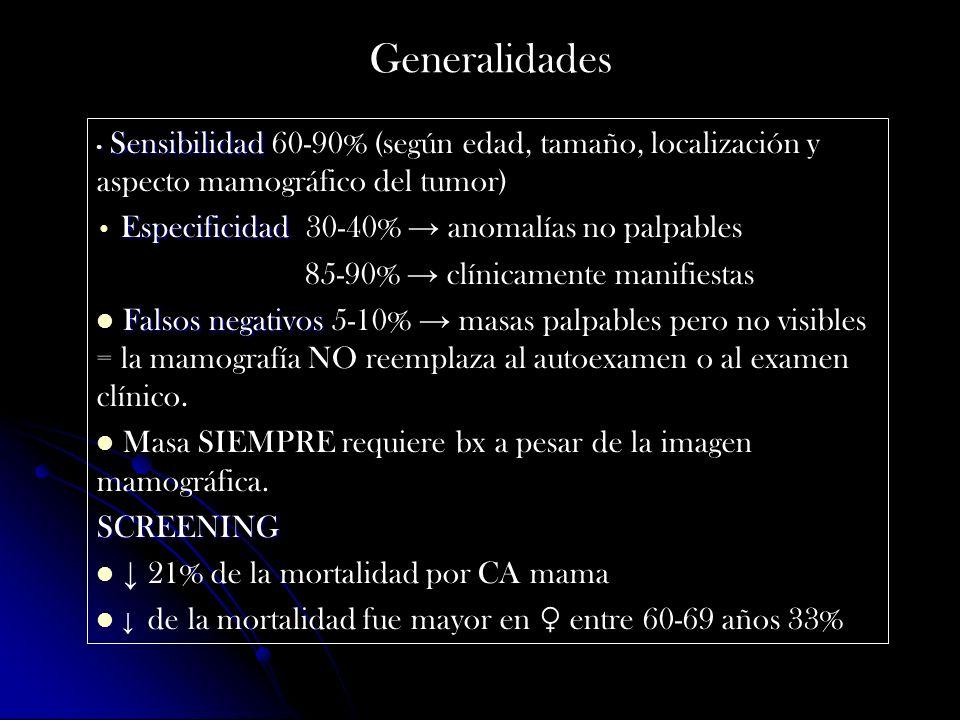 Generalidades Especificidad 30-40% → anomalías no palpables