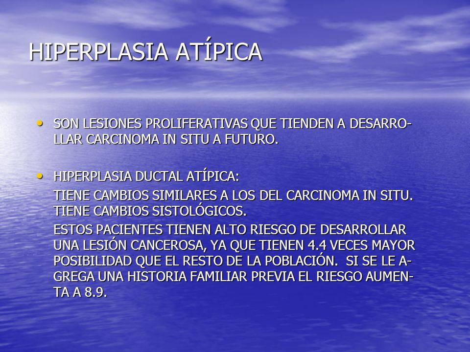 HIPERPLASIA ATÍPICASON LESIONES PROLIFERATIVAS QUE TIENDEN A DESARRO-LLAR CARCINOMA IN SITU A FUTURO.