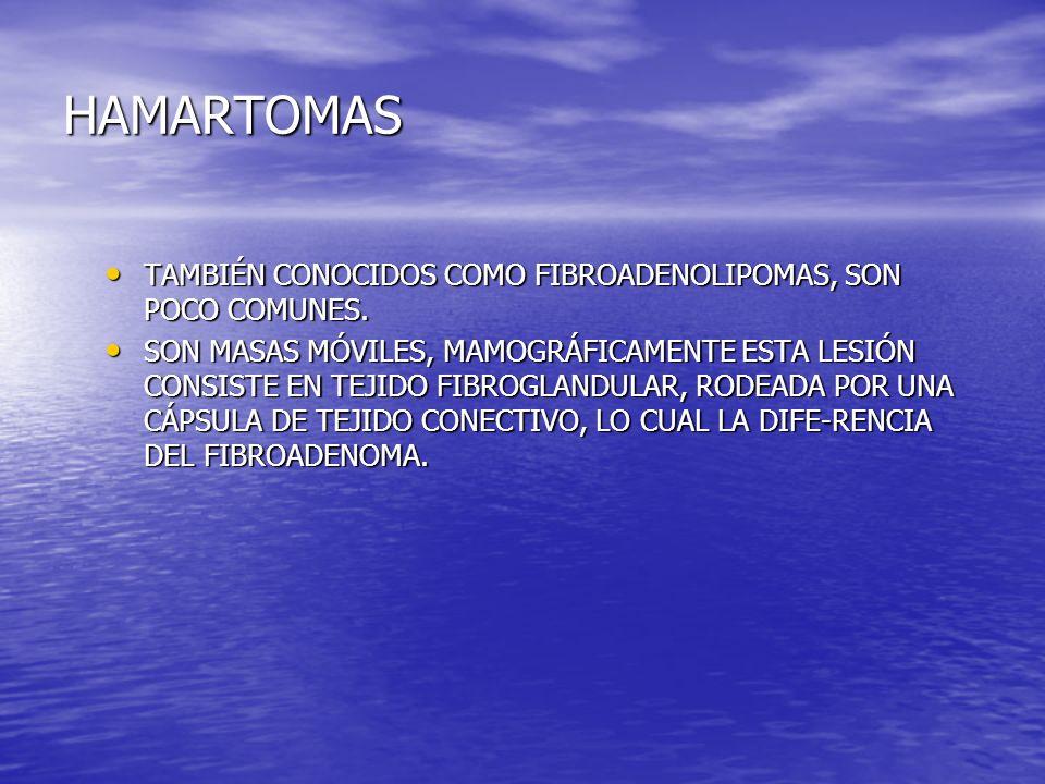HAMARTOMAS TAMBIÉN CONOCIDOS COMO FIBROADENOLIPOMAS, SON POCO COMUNES.