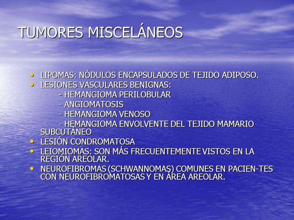 TUMORES MISCELÁNEOS LIPOMAS: NÓDULOS ENCAPSULADOS DE TEJIDO ADIPOSO.